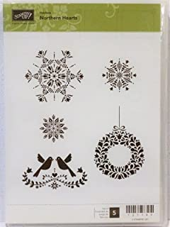 Stampin Up NORTHERN HEARTS Clear mount stamps NEW Christmas wreath snowflakes