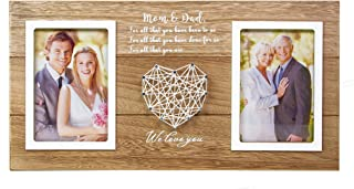 VILIGHT Wedding Gifts for Parents from Bride and Groom - Rustic Picture Frame for Dad and Mom - Holds 2 4x6 Photos