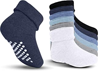 Kids Grip Socks - Non Skid/Slip & Cuff for Baby, Toddler Boys, Girls(6 Pairs)