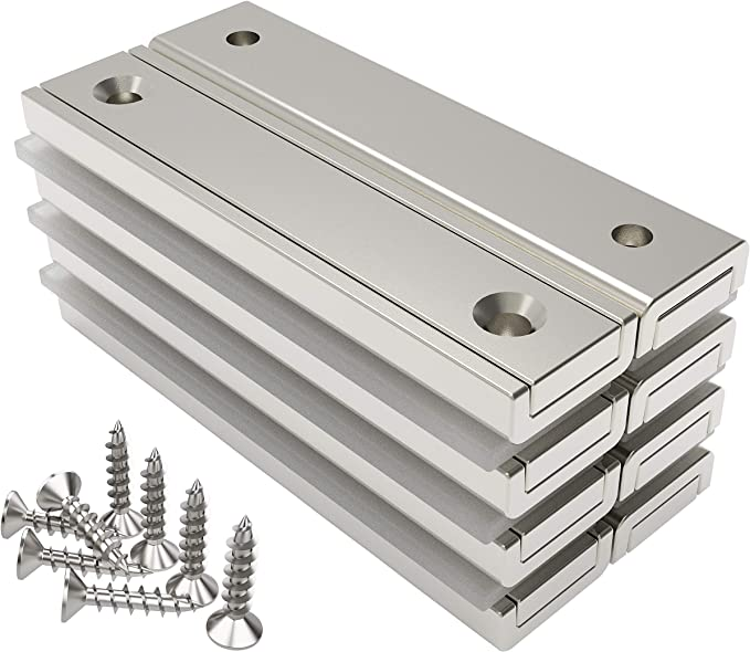 221 opinioni per Magnetpro 8 pezzi magneti rettangolari 30 kg forza 60 x 13,5 x 5 mm con foro