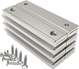 Magnetpro 8 stuks rechthoekige magneten 30 kg kracht 60 x 13,5 x 5 mm met verzonken gat en capsule, huishoudelijke en indu...