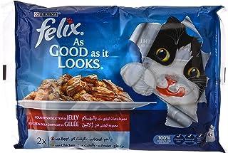 مجموعة اكياس طعام رطب للقطط بورينا از جود از ات لوكس بنكهة لحم البقر والدجاج بوزن 100 غرام مكونة من 4 قطع من فيليكس
