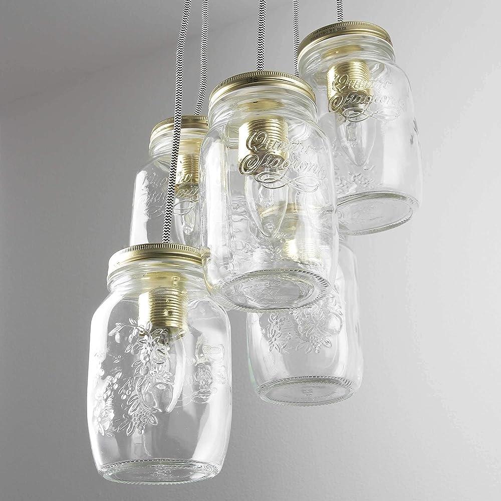 Licht-erlebnisse raffinato lampadario a sospensione in ottone stile vintage LU6417