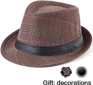 fd4e6d11 Fedora Hat Mens Fedora Hats for Men Trilby Hat Straw Sun Hat Panama Hat  Reducer