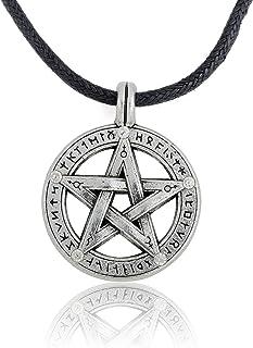 Collana da uomo con ciondolo pendente a forma di pentacolo, amuleto soprannaturale di protezione con collana in corda di p...