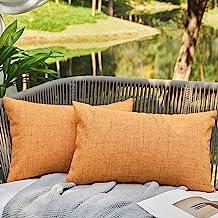 WAYIMPRESS Outdoor Pillows for Patio Furniture Waterproof Pillow Covers Square Garden Cushion Farmhouse Linen Throw Pillow...