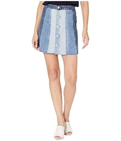 Blank NYC Denim Mini Skirt with Color Blocking Detail in All Or Nothing (All Or Nothing) Women