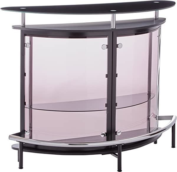 Bar Unit With Acrylic Front Black Chrome And Smoke