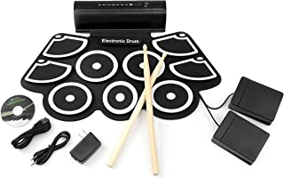 Best Choice Products Foldable Electronic Drum Set Kit, Roll-Up Drum Pads with USB MIDI, Built-in Speakers, Foot Pedals, Drumsticks Included - Black