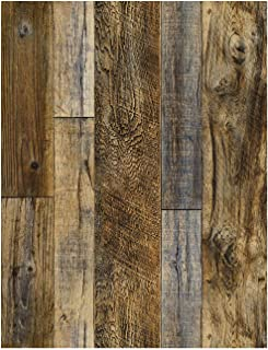 "HaokHome 92048-2 Peel and Stick Wood Plank Wallpaper Shiplap 17.7""x 9.8ft Brown Vinyl Self Adhesive Decorative"