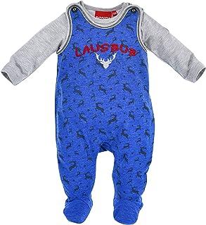 BONDI Baby-Strampler Lausbub I Schöner Jungen-Strampler in Blau I Süße Baby Kleidung mit Lausbub-Stickerei, langärmlig I Strampelanzug aus Single-Jersey