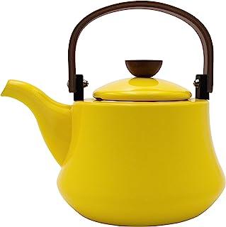 Enameled Tea kettles, AIDEA 1.8 Quart Ceramic Tea Kettle for Stovetop Induction, Enamel-on-Steel Serving Tea Pot with Wooden Handle, Large Porcelain Tea Kettle Yellow - [No Whistle]