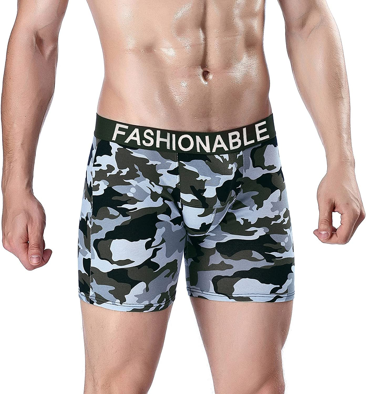 Men's Briefs Soft Camouflage Tiger Sexy Mesh Breathable Cool See-Through Boxers