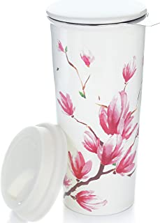 Willow & Everett 16oz Ceramic Travel Mug with Lid. Magnolia Double-Walled Tea Cup with Tea Infuser and Bonus Silicone Top. Tall Coffee and Tea Mug Tea Cups Loose Leaf Tea - Tea Mugs Tea Steeper