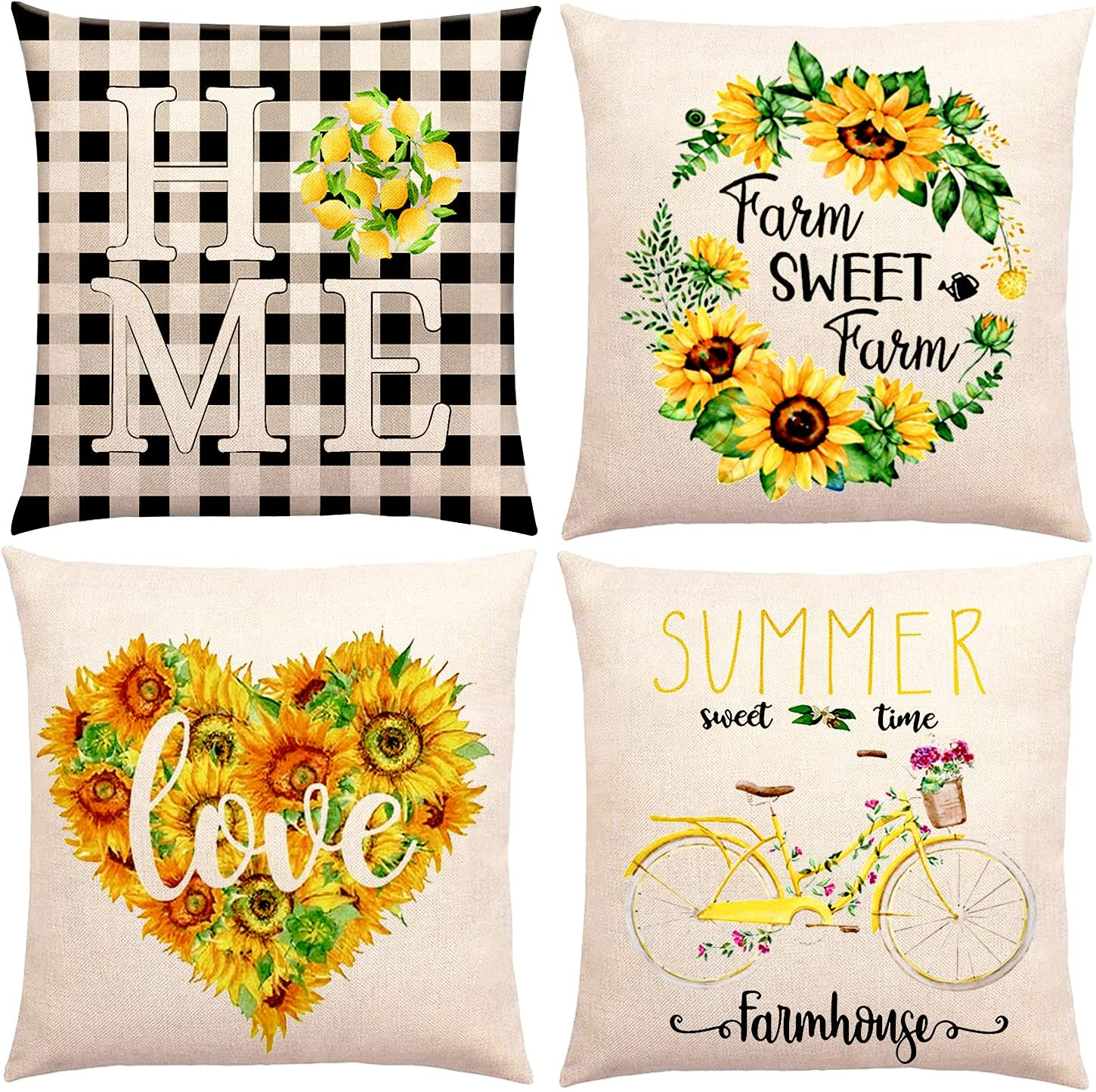 BIMZUC Summer Sunflower Pillow Covers 18x18, Yellow Decorative Throw Pillow Covers Set of 4, Farmhouse Cushion Cases Home Decor for Living Room Outdoor Sofa