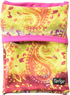 Sprigs Unisex Banjees 2 Pocket Wrist Wallet for Travel, Running, & Hiking, Yellow Paisley/Pink, One Size Fits Most