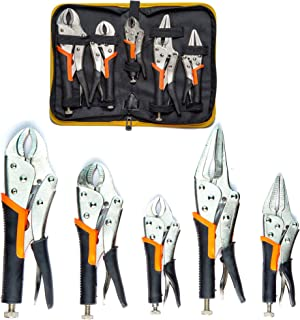 5 Pack Set Locking Pliers Set, 5 Inch, 7 Inch and 10 Inch Curved Jaw Locking Pliers, 7 Inch and 9 Inch Long Nose Locking Pliers with Storage Bag