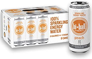 Hiball Energy Peach Sparkling Energy Water, Zero Sugar and Zero Calorie Energy Drink, 16 Fluid Ounce Cans, Pack of 8
