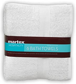 COMMERCIAL PREMIUM 6 PIECE BATH TOWEL SET BY MARTEX - 6 Bath Towels, Home, Business, Shower, Tub, Gym, Pool - Machine Washable, Absorbent, Professional Grade, Hotel Quality - WHITE