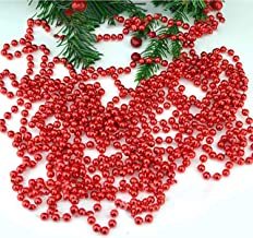 SHATCHI Metallic 24ft Hanging Bead Garland Christmas Tree Xmas Home Room Decor Party Tinsel String Chain – Red, Silver, Gold