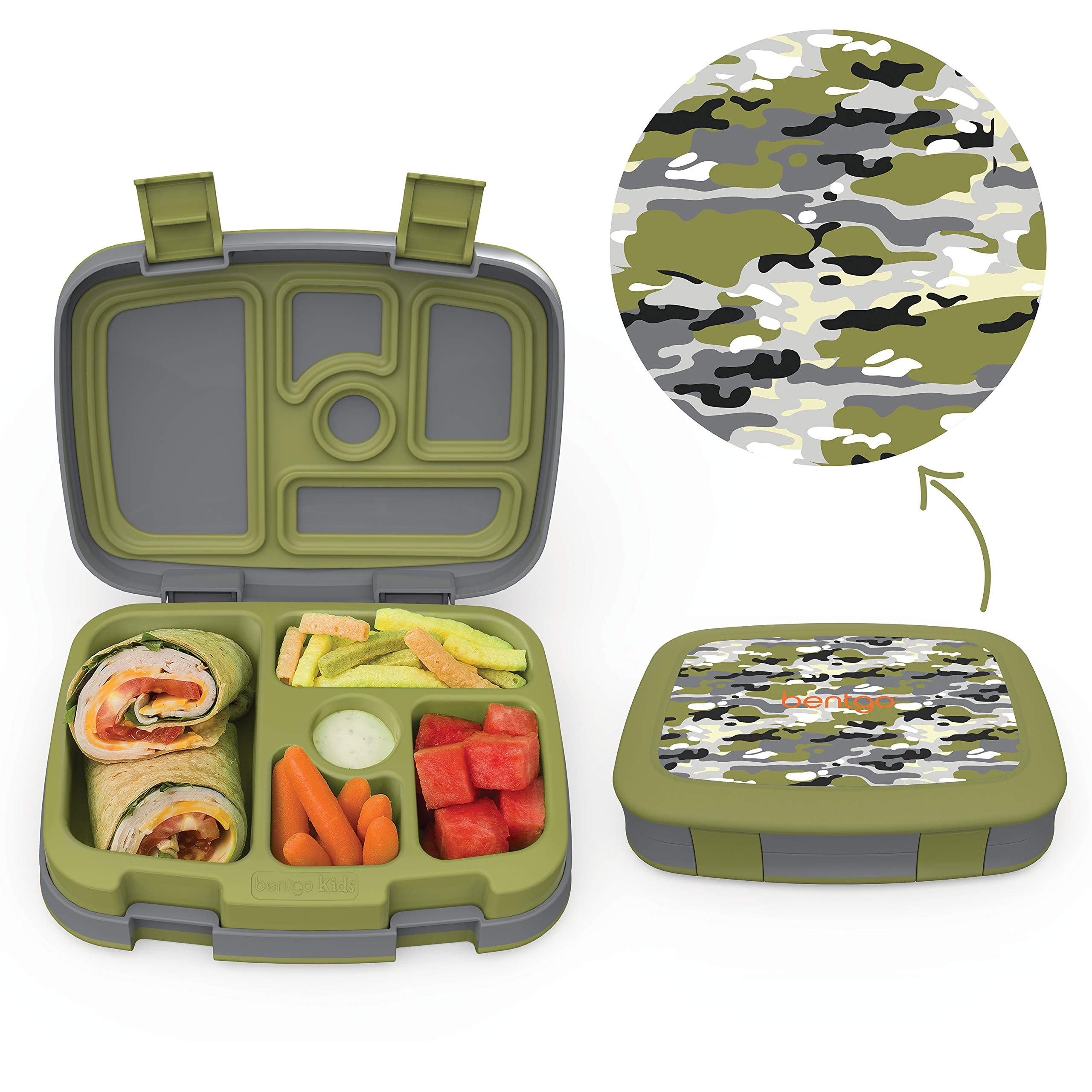 Bentgo Kids Prints (Camouflage) - Leak-Proof, 5-Compartment Bento-Style Kids Lunch Box - Ideal Portion Sizes for Ages 3 to 7 - BPA-Free and Food-Safe Materials