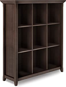 SIMPLIHOME Acadian SOLID WOOD 48 inch x 44 inch Rustic 9 Cube Bookcase and Storage Unit in Warm Walnut Brown with 9 Shelves, for the Living Room, Study and Office