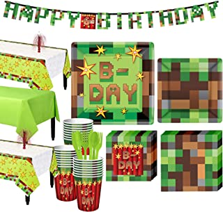 Party City Pixelated Basic Party Supplies for 24 Guests, Include Plates, Napkins, Cups, Table Covers, a Banner, and More
