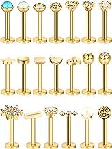 20 Piezas Perno de Nariz de Acero Inoxidable 16G Joyería de Piercing de Cartílago Labios Nariz para Mujeres Chicas