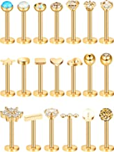 20 Pieces 16G Nose Studs Stainless Steel Cartilage Earrings Helix Tragus Studs Nose Lips Piercing Jewelry for Women Girls