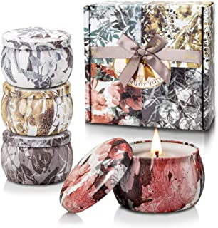 Scented Candle Gifts Set, Aromatherapy Candles for Women Stress Relief, Natural Soy Wax Portable Travel Tin Candles, Lavender Scented Candles Perfect for Birthday Gifts Wife Women Anniversary, 4 Pack