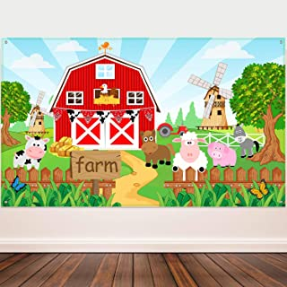 Farm Animals Theme Party Decorations, Farm Animals Barn Backdrop Banner for Grass Children Birthday Party Supplies, Farm A...