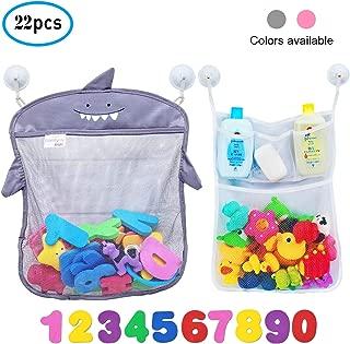 Comfylife Baby Bath Toy Organizer - Shark (2 Bath Toy Storage Nets, 10 Toy Numbers & 10 Strong Hooks) – Great Bath Net for Kids – Cute Bathtub Toy Organizer and Bath/Shower Caddy Storage Solution
