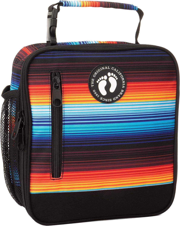 Hang Ten Basic Insulated Lunch Bag for School and Work, Thermal Reusable Office Lunch Box for Kids, Boys, Girls, Men, Women (Summer Sunset Stripes)