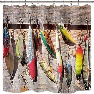 Riyidecor Fishing Lure Shower Curtain Fish Fisherman Ocean Barn Door Rustic Bathroom Home Decor Fabric Set Polyester Waterproof 72x72 Inch 12 Pack Plastic Hooks