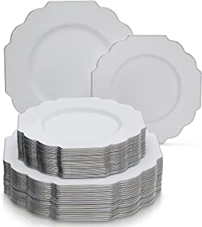 PARTY DISPOSABLE 40 PC PLASTIC PLATE SET | 20 Dinner Plates | 20 Side Plates | Heavyweight Plastic Dishes | Elegant Fine China Look | for Upscale Wedding and Dining (Baroque – White)