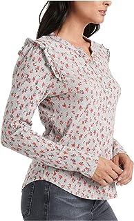 Lucky Brand Women's Long Sleeve Floral Print Ruffle Henley Shirt Henley Shirt