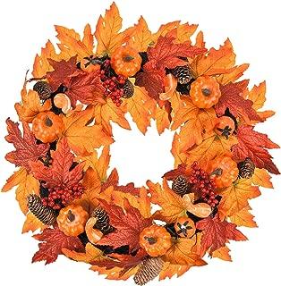 Sunm Boutique Artificial Maple Leaf Berries Pumpkin Pine Cone Garland Wreath Decorative Hanging Maple Vines for Autumn Wedding Party Thanksgiving Home Decor,Orange, 1 Pcs