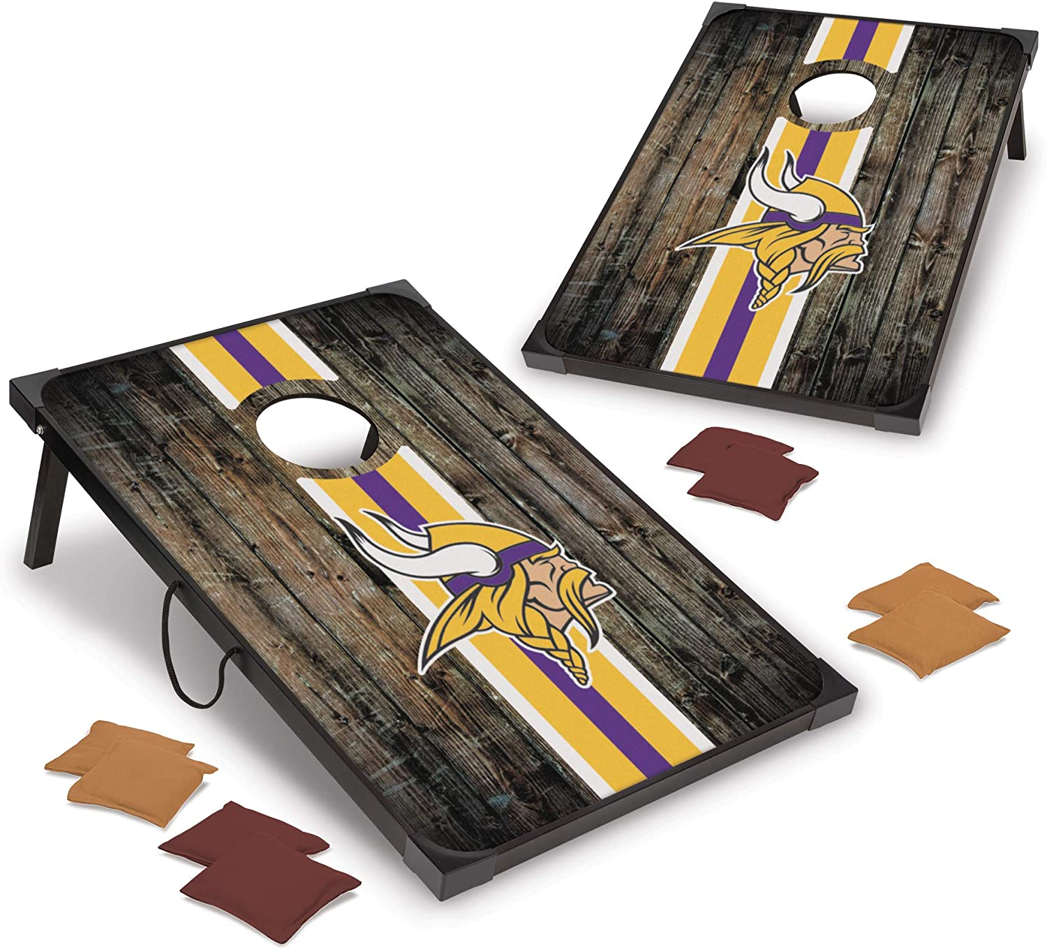 NFL Pro Time sale Football 2' x 3' MDF Sp Wild Wood Deluxe by Set Cornhole Denver Mall