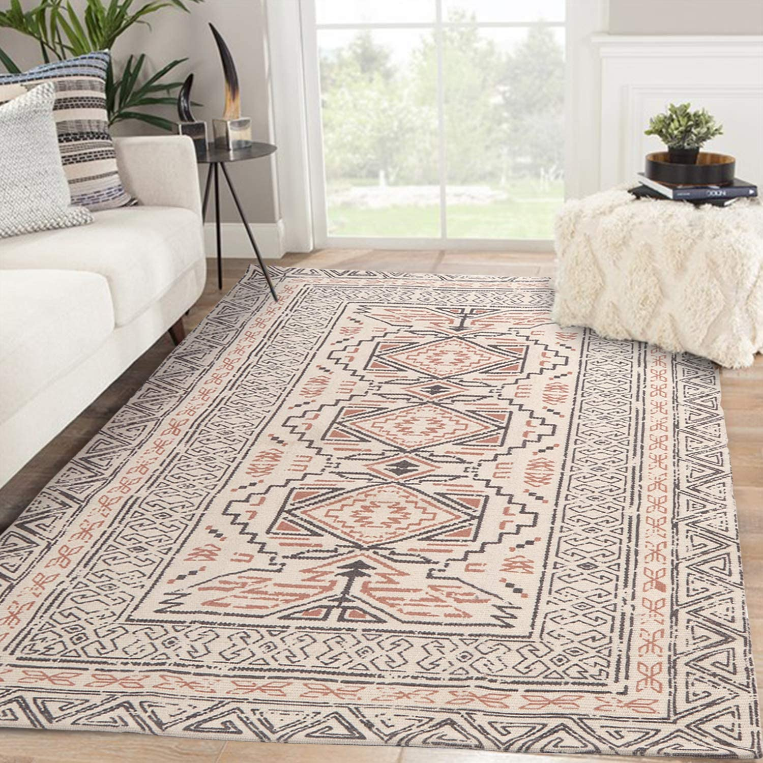 Bohemian Cotton Area Rug 4' x 6', KIMODE Woven Fringe Throw Rugs Farmhouse Modern Geometric Collection Rugs Machine Washable Indoor Floor Runner Rug for Porch Kitchen Bedroom Living Room