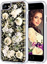 Coolden Case for iPhone 8 Case iPhone 7 Glitter Case with Dried Flower Cute Women Girly Durable Shockproof 2 Layers Solid PC TPU Cover Case for iPhone 6 6s 7 8, Gold Flower
