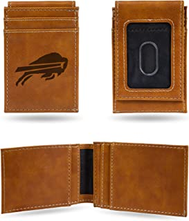 NFL Rico Industries Laser Engraved Front Pocket Wallet, Buffalo Bills, 2.75 x 4-inches