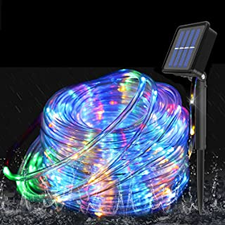 Solar Rope Lights Outdoor Waterproof, 40ft 120 LED Rope Lights with 8 Modes Color Changing Solar Fairy Lights, 5.5MM PVC T...