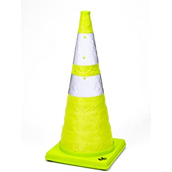 18 x 10 x 10 764081771241 Lime Mutual Industries 17712-4-18 Collapsible Reflective Traffic Cone with Inside Light 18 x 10 x 10 Pack 0F 4