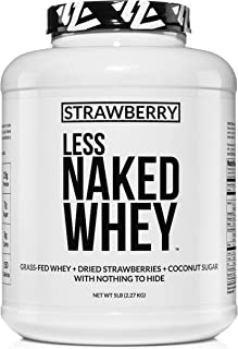 Strawberry Whey Protein - All Natural Grass Fed Whey Protein Powder + Dried Strawberries + Coconut Sugar- 5lb Bulk, GMO-Free, Soy Free, Gluten Free. Aid Muscle Growth & Recovery - 61 Servings
