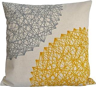 2 cojines de lino -algodón, Cojín amarillo y gris 40 x 40 cm. Geométrico,diseño BeccaTextile.