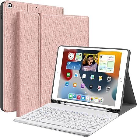 JUQITECH Funda con teclado para iPad 9/8/7 10.2 (10.2 pulgadas, 2021/2020/2019 Modelo, 9ª / 8ª / 7ª generación), desmontable magnético Bluetooth teclado funda cubierta trasera de TPU suave con espacio para Apple Pencil (A2602 A2603 A2604 A2605 A2270 A2428 A2429 A2430 A2197 A2198 A2199 A2200), rosa