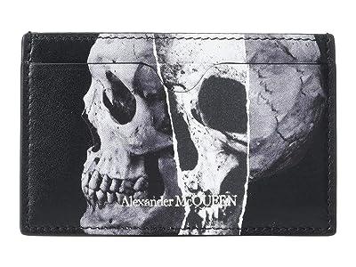 Alexander McQueen Torn Skull Card Holder (Black) Handbags