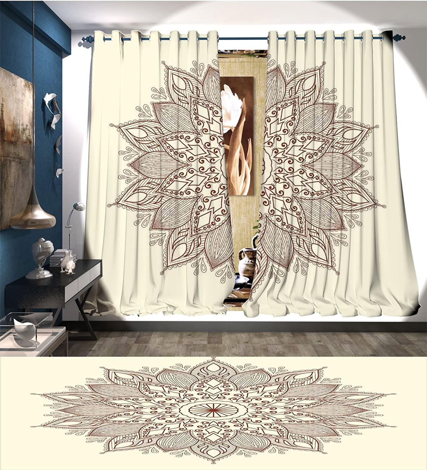 BarronTextile Beige Window Curtain Fabric Mandala Flower Ethnic Lace Circle Ornate Retro Pattern Eastern Universe Artistic Drapes for Living Room Ivory Brown