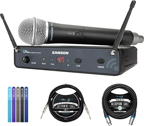 """high quality Samson Concert 88x Handheld Wireless System with Q7 Microphone (D Band) (SWC88XHQ7-D) Bundle with Blucoil 10' XLR Cable, 5-Pack of Reusable Cable Ties, discount and 10' Straight Instrument Cable sale (1/4"""") sale"""