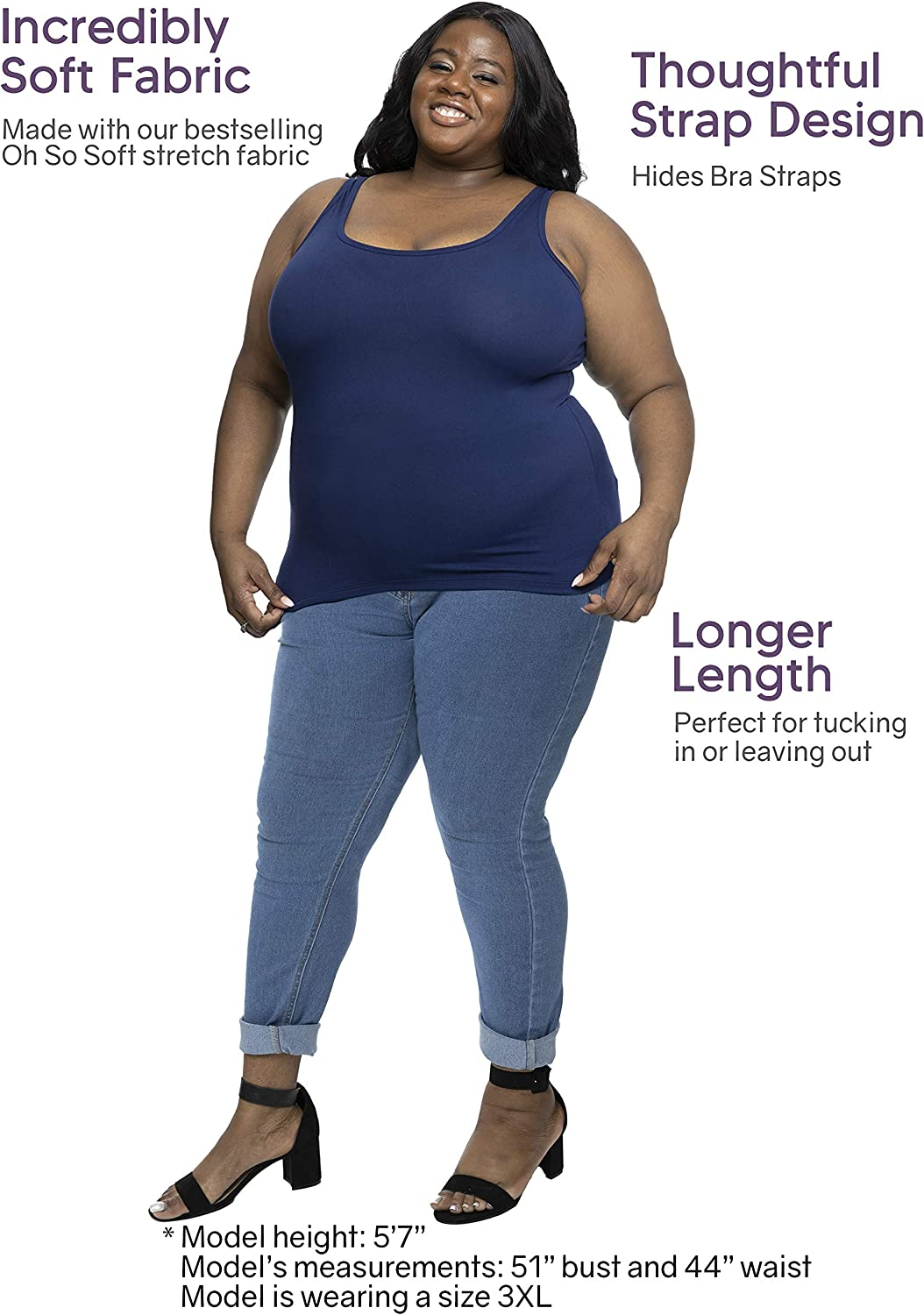 Oh So Soft Long Length Base Layer Tank Top | Women Plus Size | Made in The U.S.A